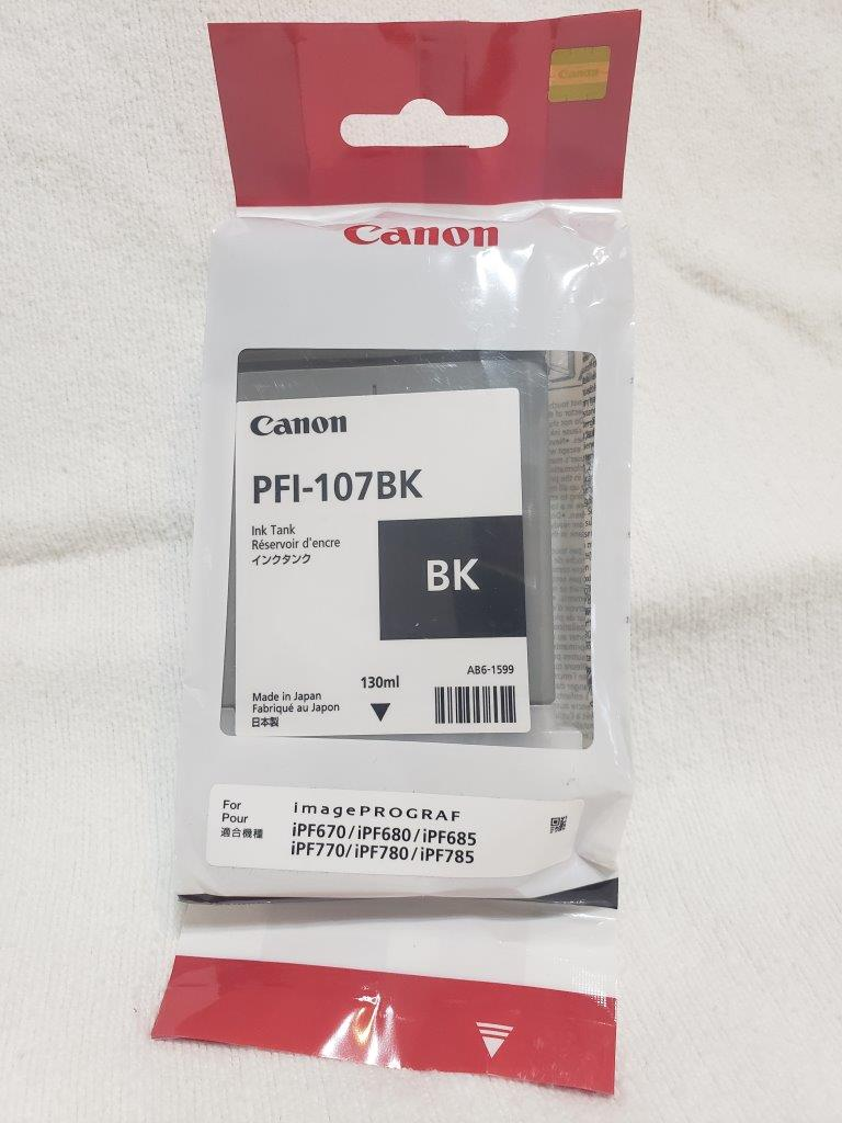 Canon PFI-107BK Ink Cartridge Black 130ml Inkjet 1 Pack, 6705B001AA for imagePROGRAF iPF670 iPF680 iPF685 iPF770 iPF780 iPF785