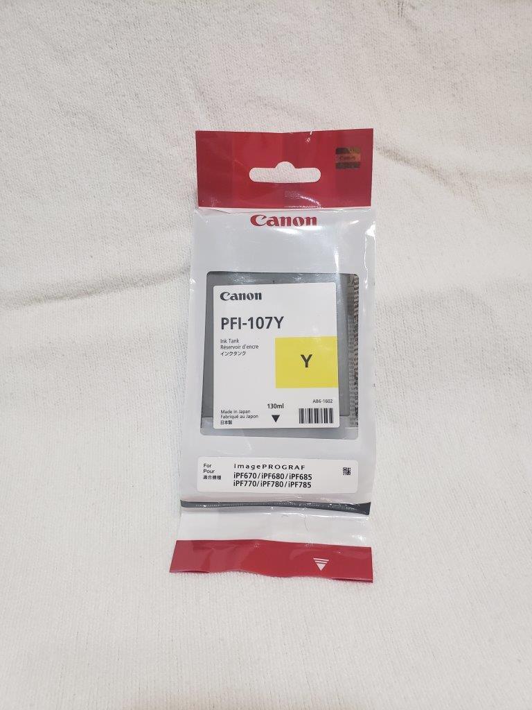 Canon PFI-107Y Ink Cartridge Yellow 130ml Inkjet 1 Pack, 6708B001AA for imagePROGRAF iPF670 iPF680 iPF685 iPF770 iPF780 iPF785