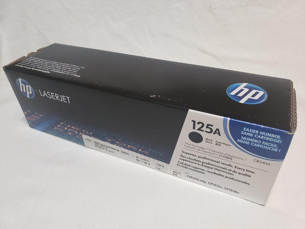 HP 125A Black Original LaserJet Toner Cartridge, CB540A Genuine Sealed for CM1312nfi CP1215 CP1518ni printers