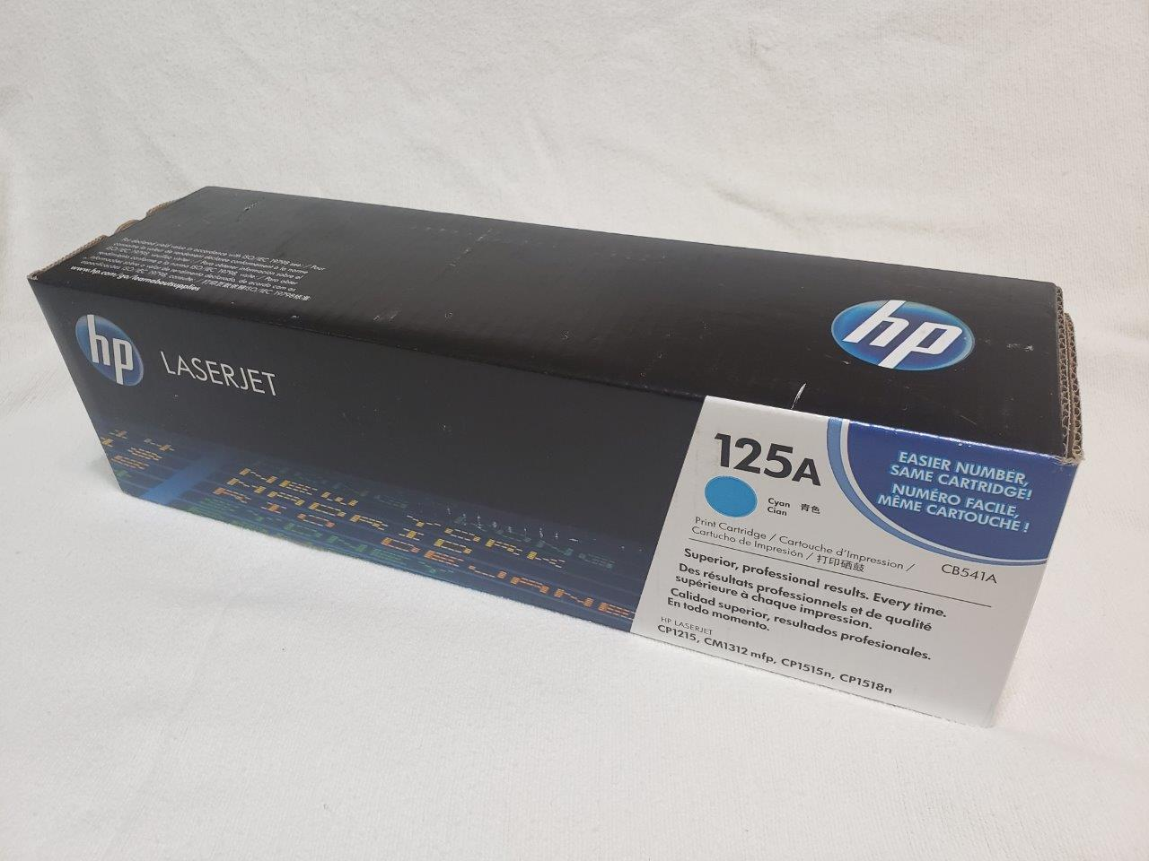 HP 125A Cyan Original LaserJet Toner Cartridge, CB541A Genuine Sealed for CM1312nfi CP1215 CP1518ni printers