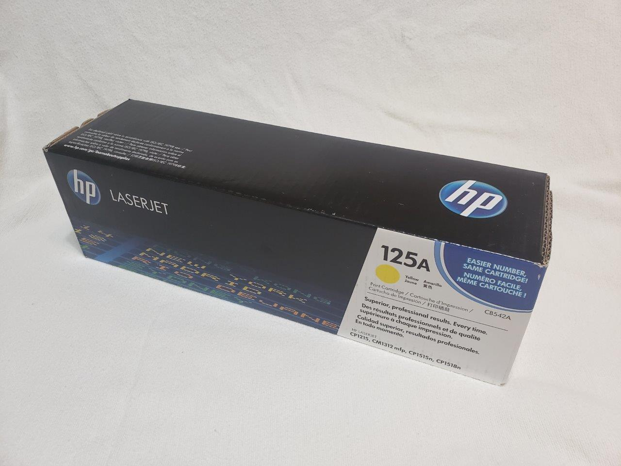HP 125A Yellow Original LaserJet Toner Cartridge, CB542A Genuine Sealed for CM1312nfi CP1215 CP1518ni printers
