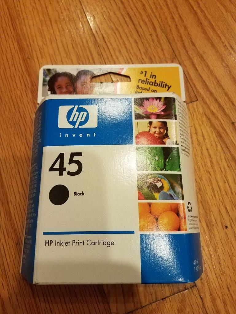 HP 45 Black Original Ink Cartridge, 51645A #140