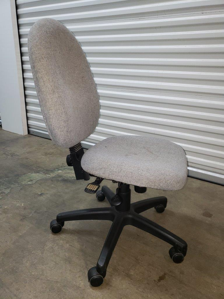 Grey Fabric Office Chair with Black Swivel Nylon Base
