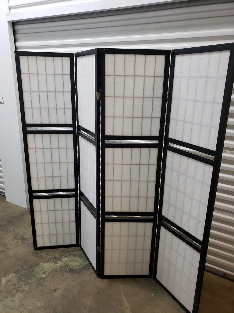 Black 4-Panel Room Divider with Shelving Unit missing