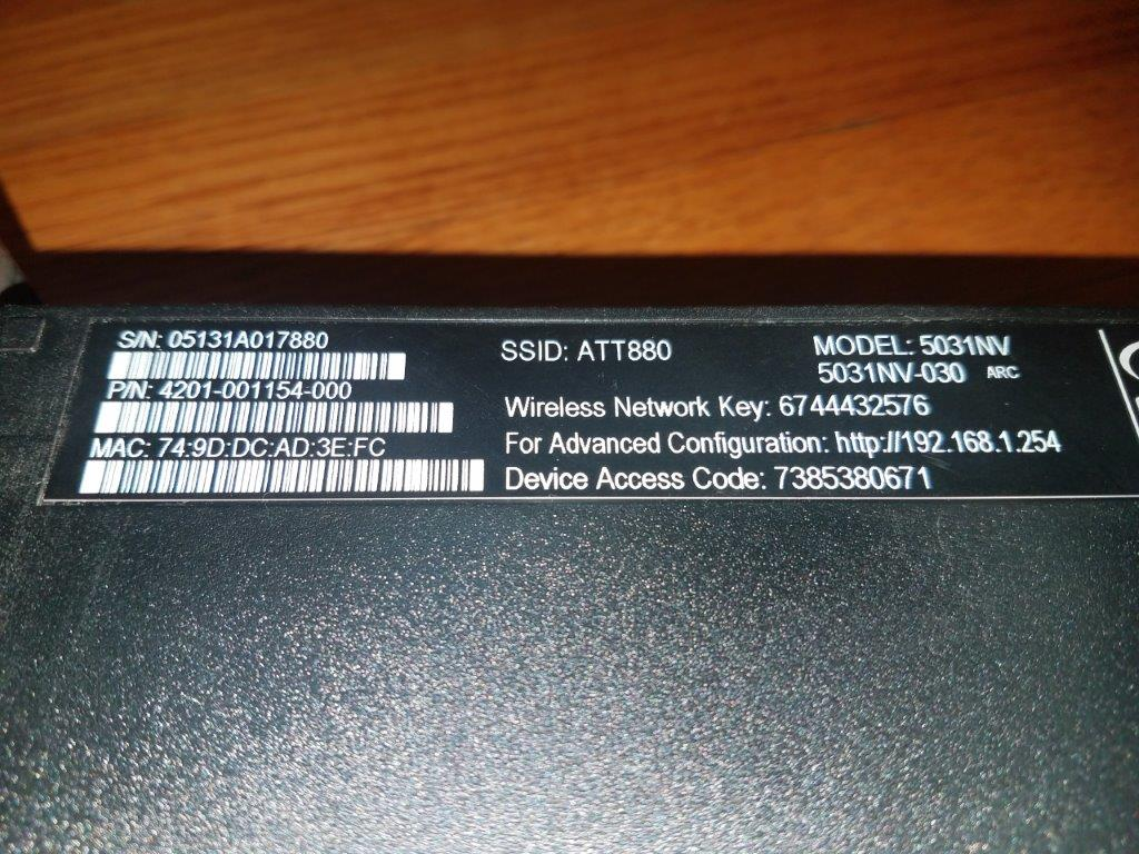 At&T U-verse 4-port Wireless N Router Modem Combo 5031NV