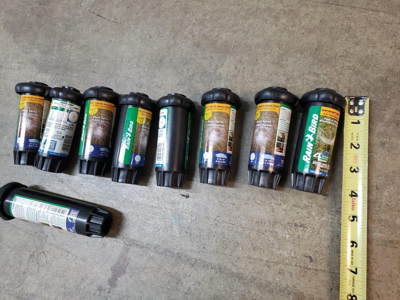 "Rain Bird 8x 1225-DSF and 1x 1240-DSF  2.5"" Dual Spray Pop-Up Sprinkler Head (Full Circle Pattern) sprinklers"