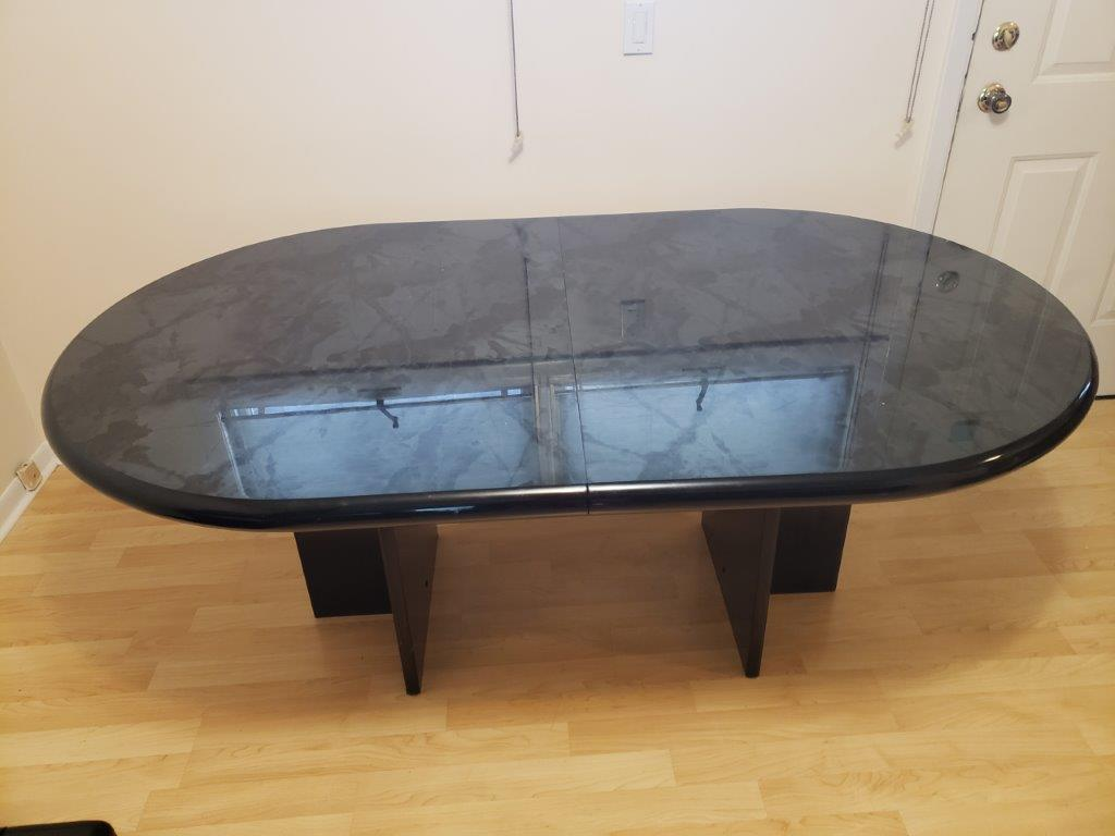 Black Wooden Oval table with adjustable width with insert drop-in leaf