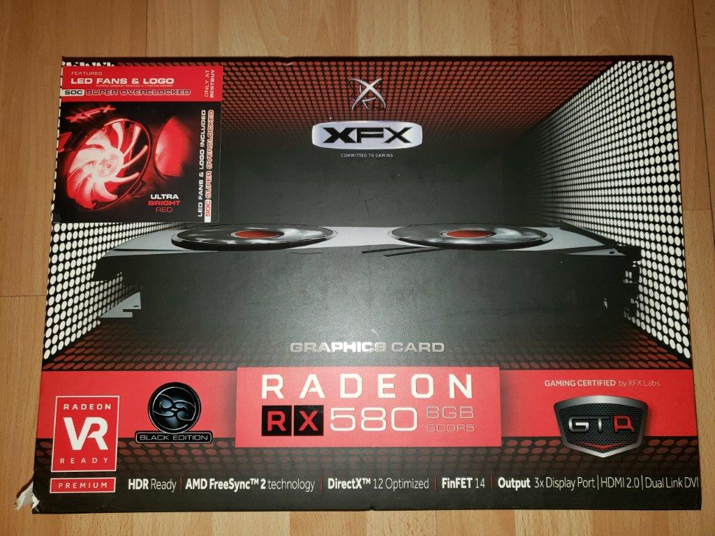 XFX AMD Radeon RX 580 GTR XXX Edition 8GB Crimson OC+ 1425Mhz W/Red LED Fans and Custom Backplate Graphic Cards RX-580P8D