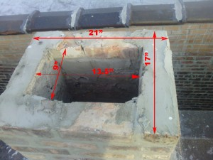 Chimney top portion sizes